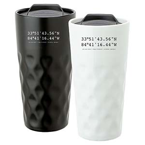 DUAL-WALLED CERAMIC DIAMOND TUMBLER, 15 OZ
