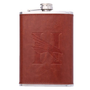 LEATHERETTE WRAPPED FLASK, 8 OZ