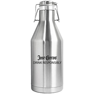 DOUBLE WALL VACUUM INSULATED STAINLESS STEEL BEER GROWLER, 64 OZ