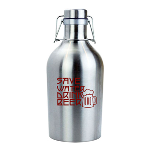 SINGLE WALL STAINLESS STEEL BEER GROWLER, 64 OZ